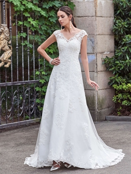 Classic V Neck A Line Lace Wedding Dress