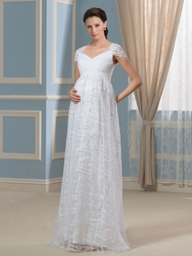 Comfortable Cap Sleeves Lace Maternity Wedding Dress