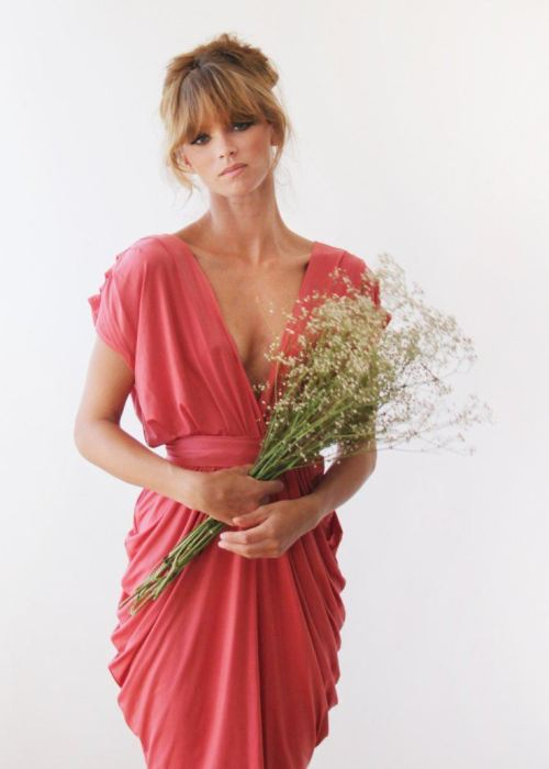 Coral Midi length bridesmaids dress 1007