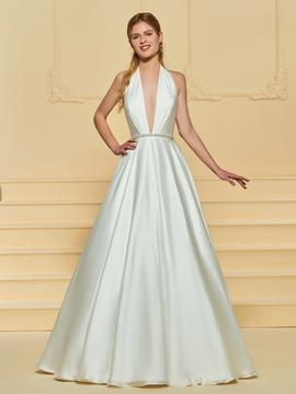 Deep V Neck Backless Wedding Dress