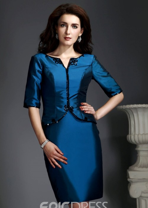 Delicated Sheath Column Scoop Neckline Knee-Length Alexs Mother of the Bride Dress With Jacket Shawl