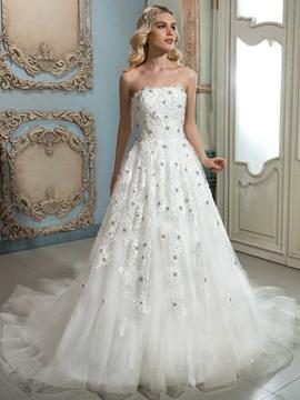 Elegant Apliques Beaded Strapless A Line Wedding Dress