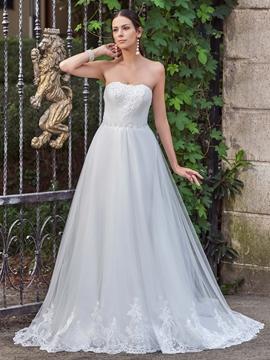 Elegant Appliques Court Train Strapless A Line Wedding Dress
