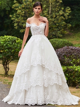 Elegant Appliques Off The Shoulder Ball Gown Wedding Dress