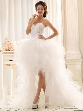 Elegant Asymmetrical Asymmetry Sweetheart Lace-Up Wedding Dress