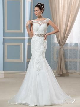 Elegant Bateau Appliques Backless Mermaid Wedding Dress