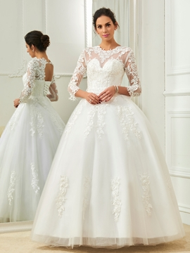 Elegant Jewel Appliques Ball Gown Wedding Dress