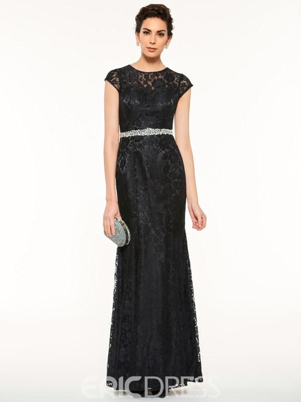 Elegant Jewel Cap Sleeves Beaded Lace Sheath Mother Of The Bride Dress