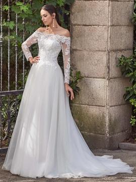 Elegant Off The Shoulder A Line Long Sleeves Wedding Dress
