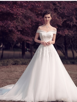 Elegant Off The Shoulder Appliques Beaded A Line Wedding Dress