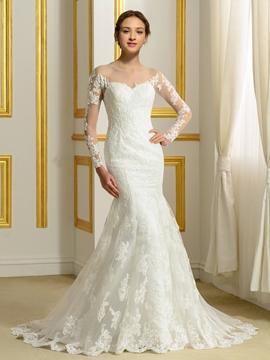Elegant Sheer Neck Long Sleeves Mermaid Wedding Dress