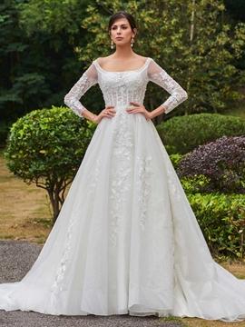 Elegant Square Neckline Appliques A Line Long Sleeves Wedding Dress