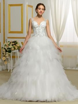 Elegant Strapless Ball Gown Tulle Wedding Dress