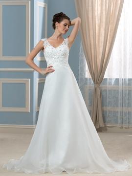 Elegant V Neck Appliques A Line Wedding Dress