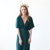 Emerald green batwing sleeves maxi dress 1002