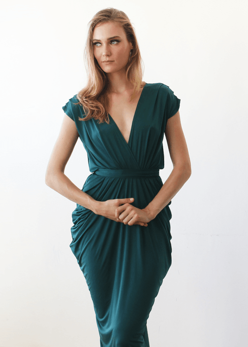Emerald green midi bridesmaids dress 1007