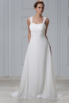 Exquisite Sheath-Column Straps Court Train Flowers Veronika's Wedding Dress