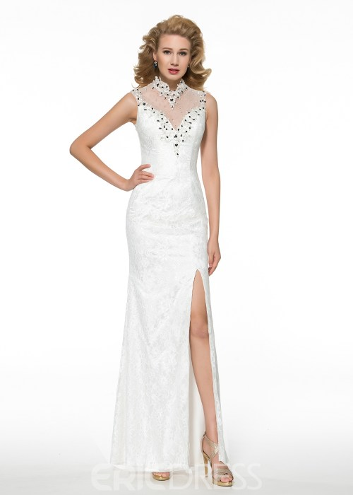Fancy High Neck Beading Sheath Mother of the Bride Dress
