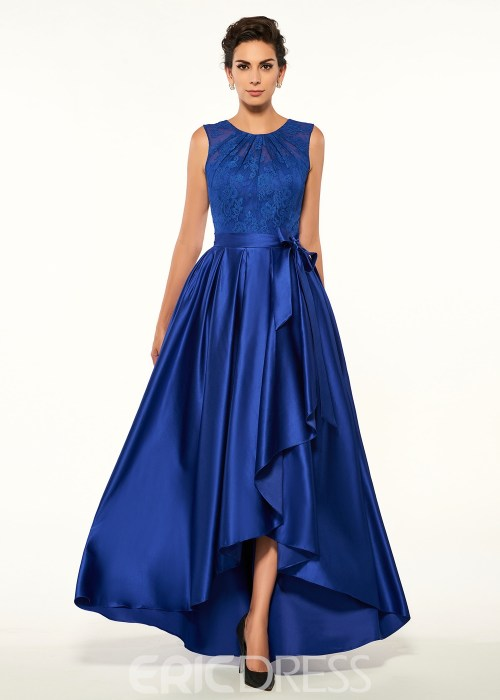 Fancy Jewel Lace High Low A Line Mother Of The Bride Dress