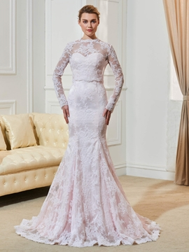Fancy Lace Mermaid Long Sleeves Pink Wedding Dress