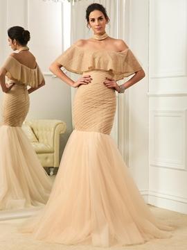Fancy Off The Shoulder Mermaid Color Wedding Dress