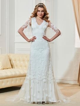 Fancy V Neck Half Sleeves Mermaid Lace Wedding Dress