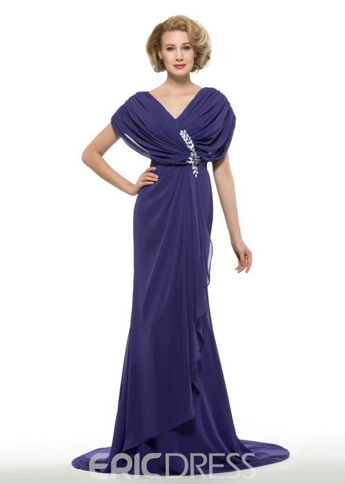 Fancy V Neck Mermaid Chiffon Mother Of The Bride Dress