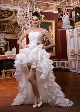 Fantastic A-line Strapless Ruffles Asymmetry Wedding Dress