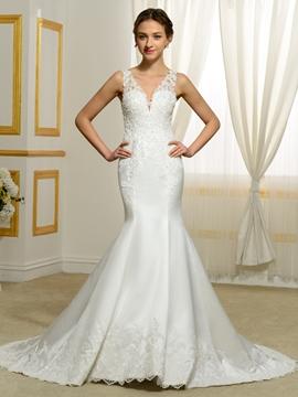 Fantastic V Neck Mermaid Backless Wedding Dress