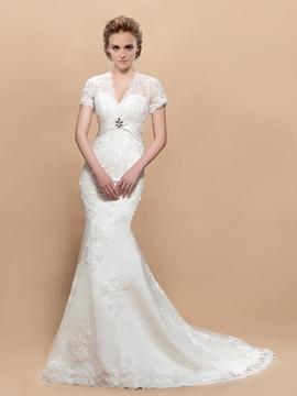 Fascinating V-neck Short Sleeves Trumpet Court Train Wedding Dress