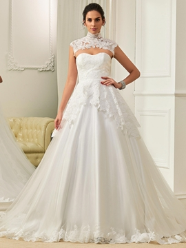 Fashion High Neck Appliques A Line Wedding Dress