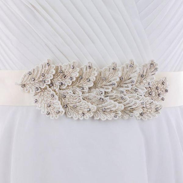 Feather Look Belt Handmade Beading Wedding Accessories Satin Wedding Dress Belt Bridal Ribbon Applique Waistband Sash Belt for Evening Prom Dress