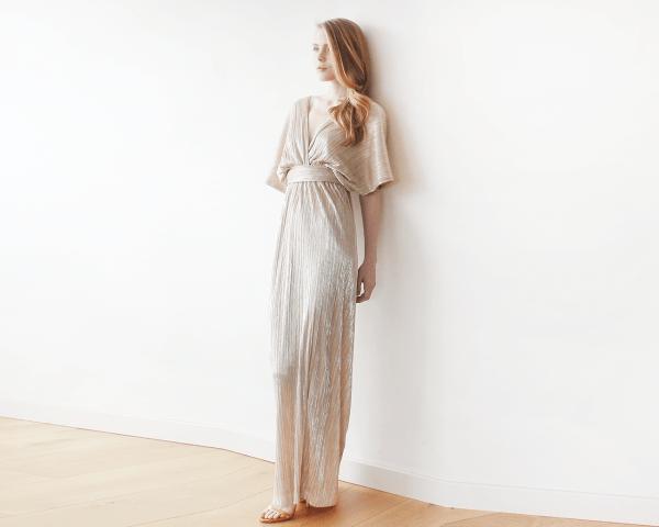 Gold glamorous maxi bat-sleeves pleated dress 1065