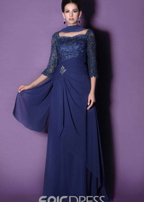 Gorgeous Lace A-Line Sweetheart Neckline 3-4-Sleeves Mother of the Bride Dress With Jacket Shawl