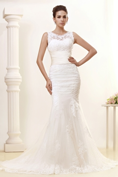 Gorgeous Trumpet-Mermaid Jewel Chapel Train Lace Taline's Wedding Dress