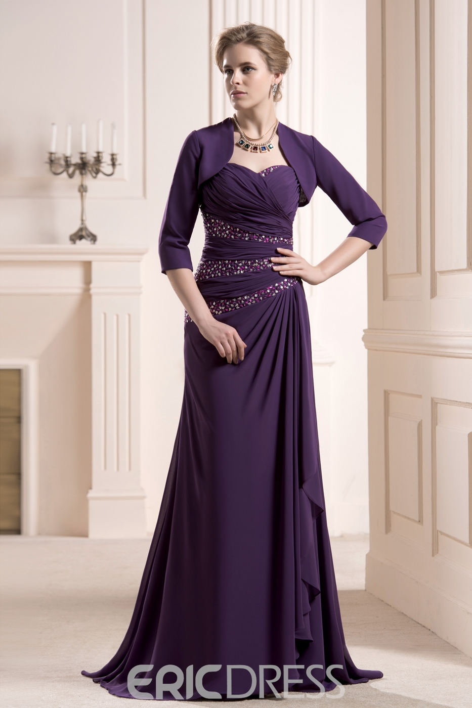 1385bc3d318 Graceful Beaded Sheath Column Sweetheart Neckline Sweep Mother of the Bride  Dress With Jacket Shawl - Cute Dresses