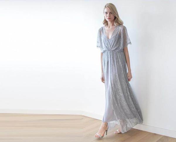 Grey sheer lace maxi dress 1044