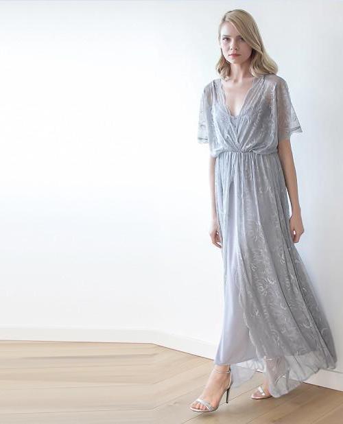 Grey sheer lace maxi dress 1044