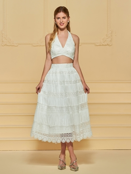 Halter Lace Tea Length Wedding Dress