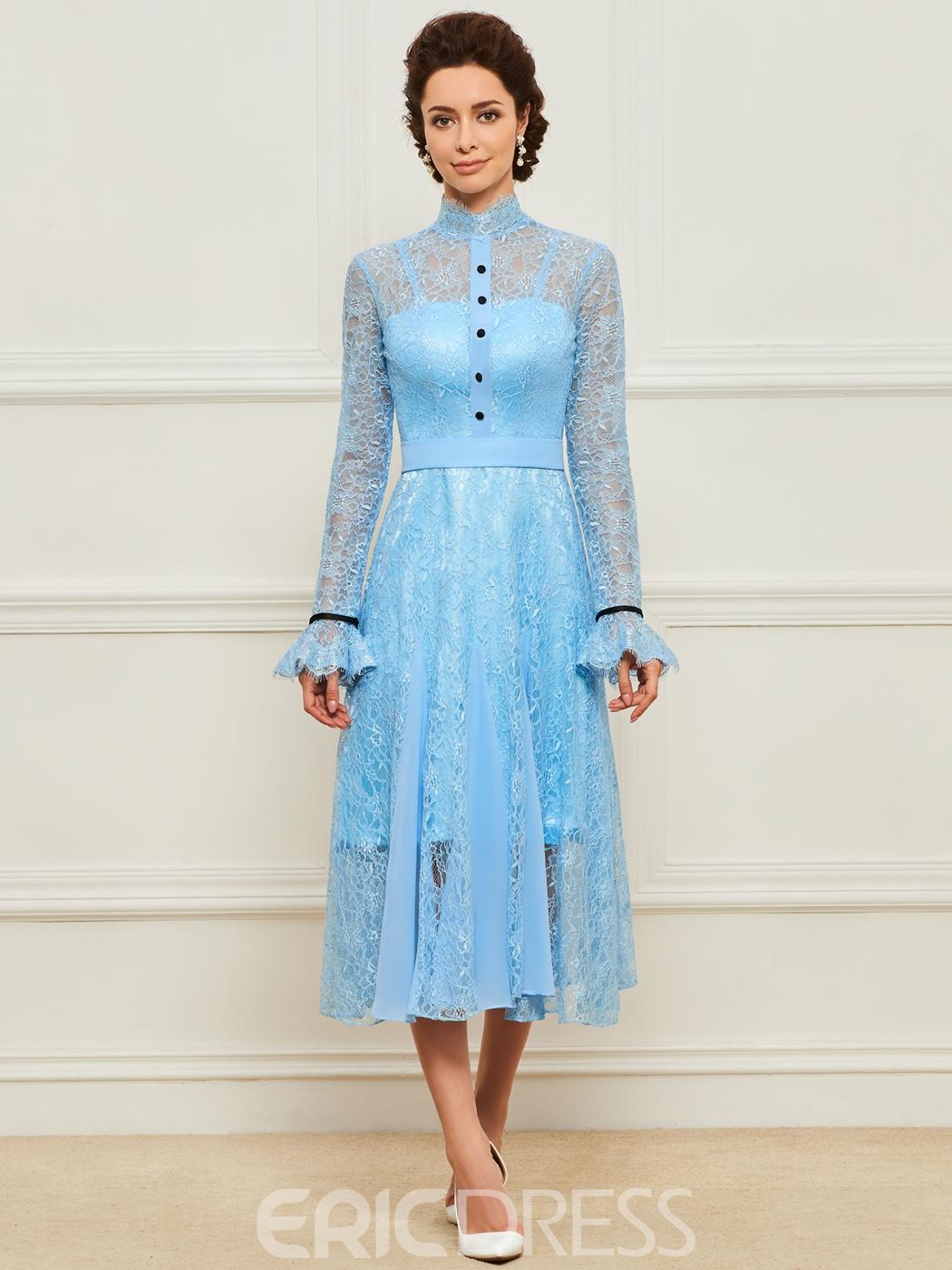 High Neck Lace Tea Length Mother Dress - Cute Dresses
