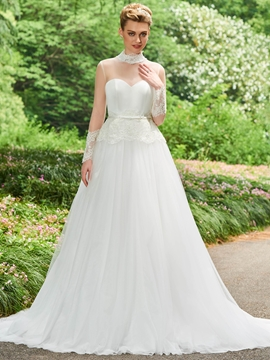 High Neck Long Neck A Line Appliques Wedding Dress