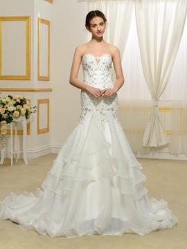 High Quality Appliques Sweetheart Mermaid Wedding Dress