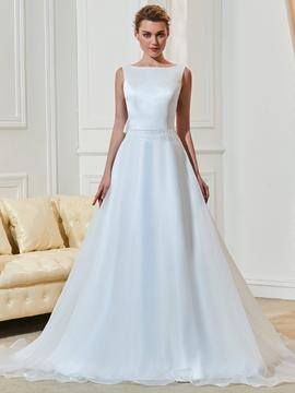 High Quality Bateau Backless A Line Wedding Dress