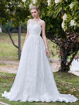 High Quality Scoop Appliques A Line Wedding Dress