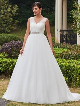 High Quality V Neck Beaded A Line Wedding Dress