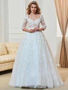 High Quality V Neck Lace Ball Gown Wedding Dress With Sleeves