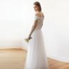 Ivory Velvet and Tulle Bridal Maxi Dress 1079