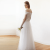 Ivory Velvet and Tulle Bridal Maxi Dress 1079