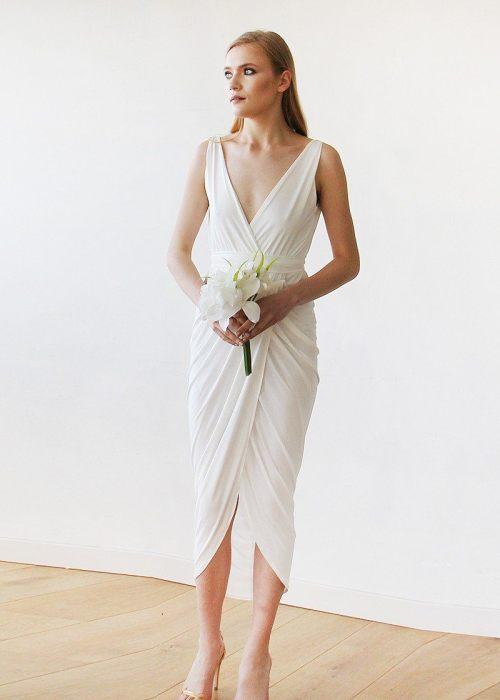 Ivory Wrap Tulip Dress with V Neckline 1154