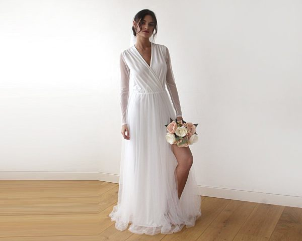 Ivory wrap tulle gown with long chiffon sleeves and slit 1174